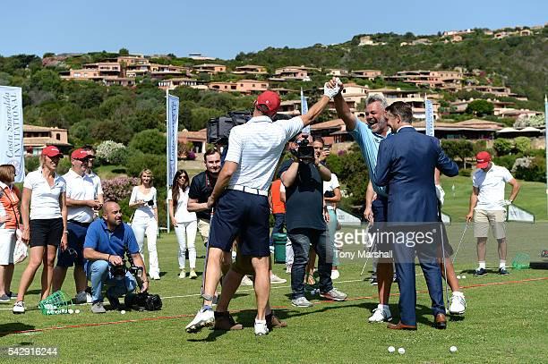 Andriy Shevchenko and Darren Clarke during The Costa Smeralda Invitational golf tournament at Pevero Golf Club Costa Smeralda on June 25 2016 in...