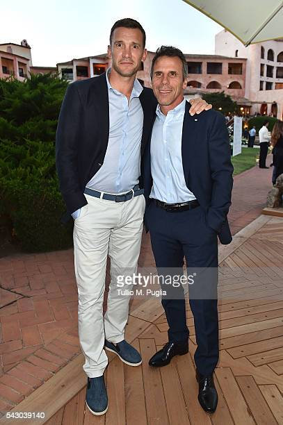 Andriy Shevchenko and Gianfranco Zola attend the Gala Dinner during The Costa Smeralda Invitational golf tournament at Pevero Golf Club Costa...
