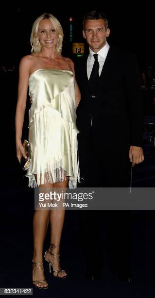 Andriy Shevchenko and his wife Kristen Pazik arrives for the Armani show during the London Fashion Week Spring/Summer 2007 Collections at the Earls...
