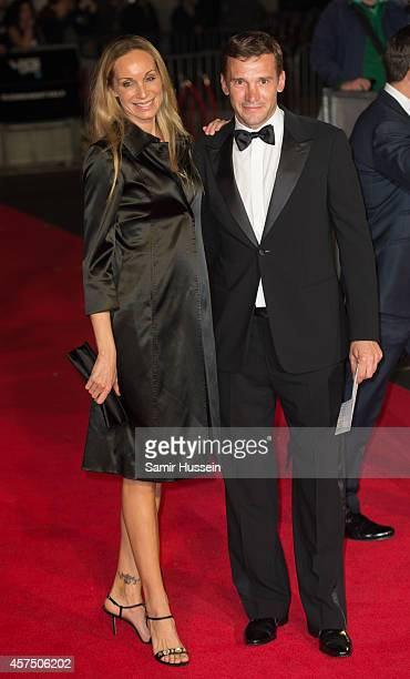 Andriy Shevchenko and Kristen Pazik attend the closing night Gala screening of Fury during the 58th BFI London Film Festival at Odeon Leicester...