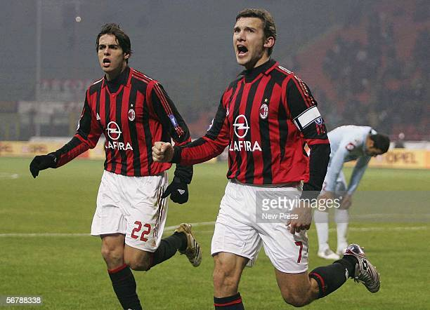 Andriy Shevchenko and Ricardo Kaka celebrate a goal during the Serie A match between AC Milan and Treviso at the Giuseppe Meazza San Siro Stadium on...