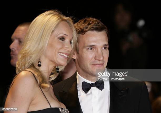 Andriy Shevchenko and wife Kristen arrive for Swarovski Fashion Rocks for The Prince's Trust at the Royal Albert Hall in central London