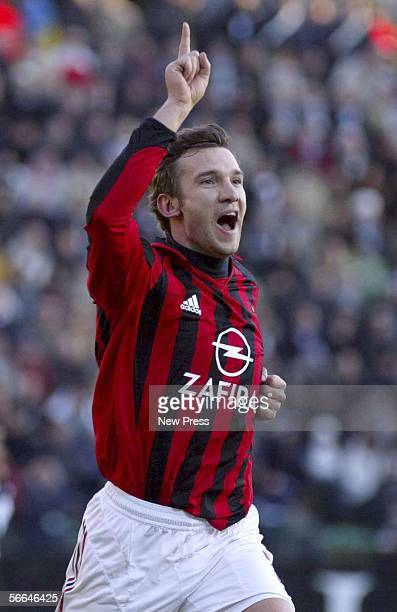 Andriy Shevchenko celebrates scoring a goal during the Serie A match between Siena and AC Milan at the Stadio Artemio Franchi on January 22 2006 in...