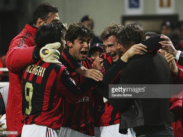 Andriy Shevchenko celebrates with his team mates Paolo Maldini Filippo Inzaghi and Kaka after scoring the second goal during the UEFA Champions...