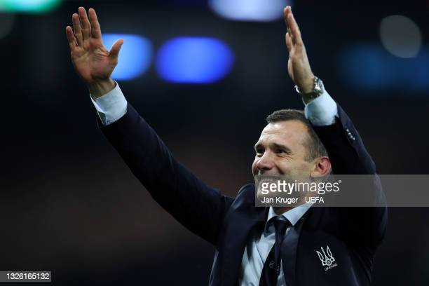Andriy Shevchenko, Head Coach of Ukraine acknowledges the fans after the UEFA Euro 2020 Championship Round of 16 match between Sweden and Ukraine at...