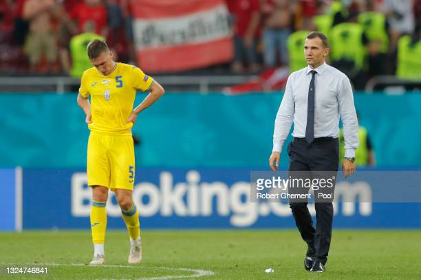 Andriy Shevchenko, Head Coach of Ukraine looks dejected after the UEFA Euro 2020 Championship Group C match between Ukraine and Austria at National...