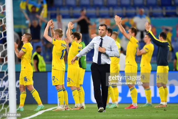 Andriy Shevchenko, Head Coach of Ukraine looks dejected after the UEFA Euro 2020 Championship Quarter-final match between Ukraine and England at...