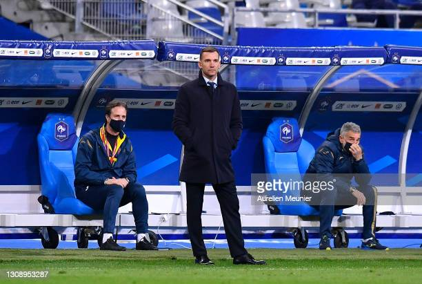 Andriy Shevchenko, Head Coach of Ukraine looks on during the FIFA World Cup 2022 Qatar qualifying match between France and Ukraine on March 24, 2021...