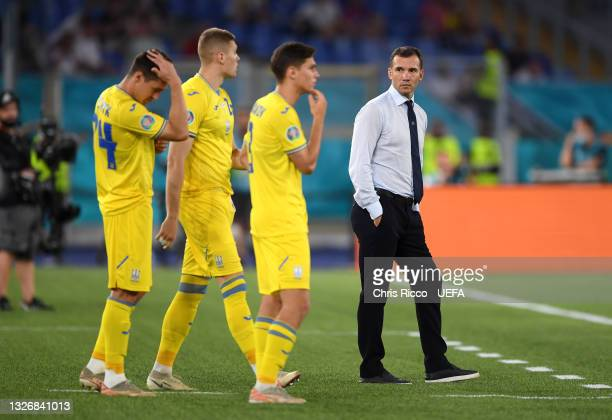 Andriy Shevchenko , Head Coach of Ukraine looks on during the UEFA Euro 2020 Championship Quarter-final match between Ukraine and England at Olimpico...