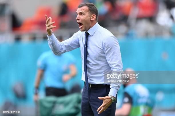 Andriy Shevchenko, Head Coach of Ukraine reacts during the UEFA Euro 2020 Championship Group C match between Ukraine and North Macedonia at National...