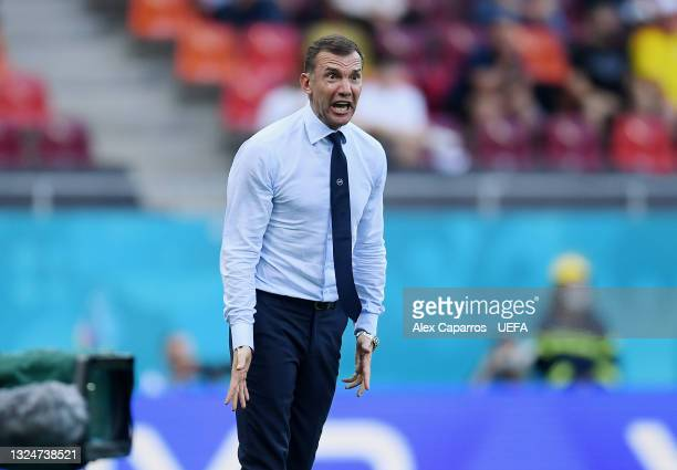 Andriy Shevchenko, Head Coach of Ukraine reacts during the UEFA Euro 2020 Championship Group C match between Ukraine and Austria at National Arena on...