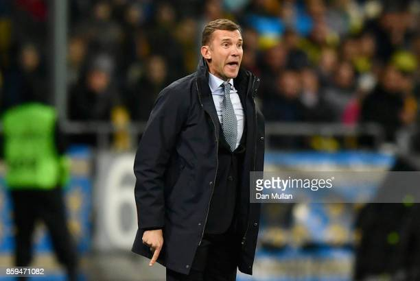 Andriy Shevchenko Manager of of Ukraine reacts during the FIFA 2018 World Cup Group I Qualifier between Ukraine and Croatia at Kiev Olympic Stadium...