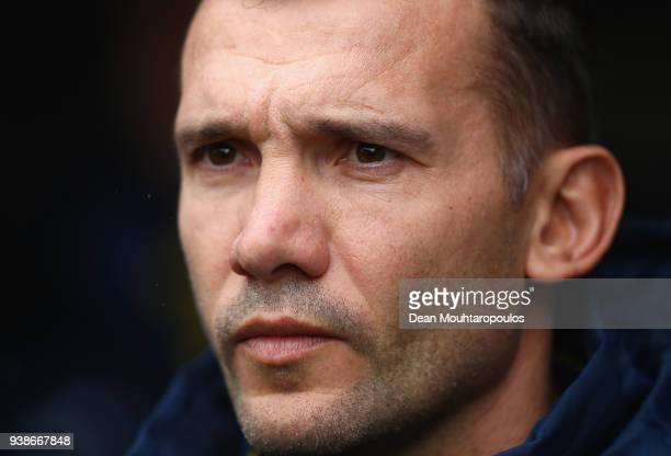 Andriy Shevchenko Manager of Ukraine looks on during the International Friendly match between Japan and Ukraine at Stade Maurice Dufrasne on March 27...