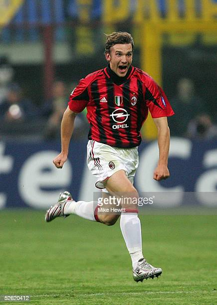 Andriy Shevchenko of AC Milan celebrates after scoring during the UEFA Champions League quarterfinal second leg between AC Milan and Inter Milan at...