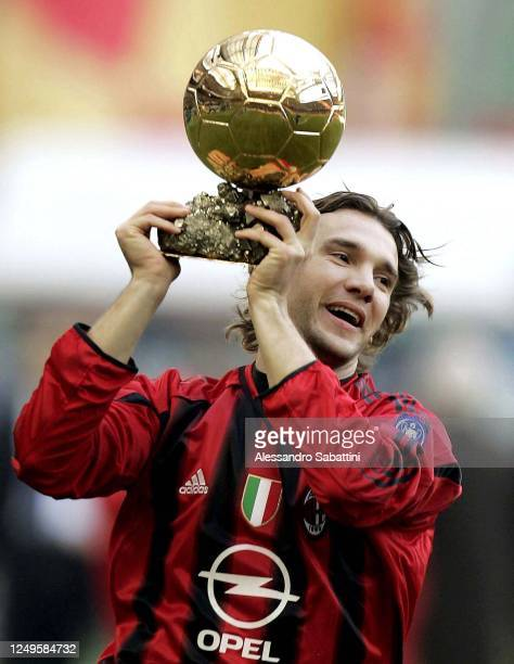 Andriy Shevchenko of AC Milan celebrates in Milan after winning the golden ball during the Serie A on Stadio Giuseppe Meazza in Milan 2004, Italy. ,...
