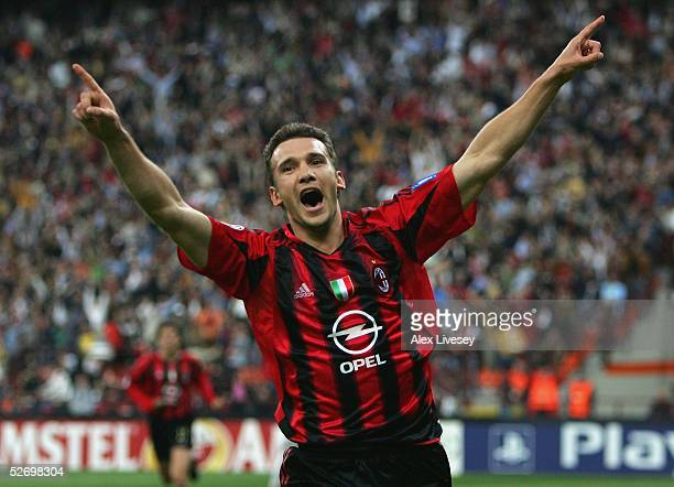 Andriy Shevchenko of AC Milan celebrates scoring the first goal during the UEFA Champions League semifinal first leg match between AC Milan and PSV...