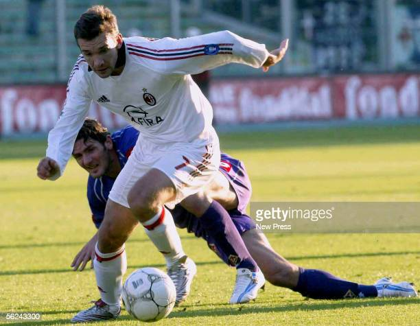 Andriy Shevchenko of AC Milan in action during the Serie A match between Fiorentina and AC Milan at the Stadio Artemio Franchi on November 20 2005 in...