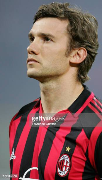 Andriy Shevchenko of AC Milan looks on prior to the UEFA Champions League Quarter Final Second Leg match between AC Milan and Lyon at the San Siro on...