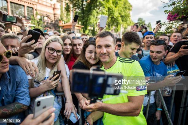 Andriy Shevchenko of Andriy Shevchenko Friends takes selfies with fans during the Ultimate Champions Tournament at the Champions Festival ahead of...