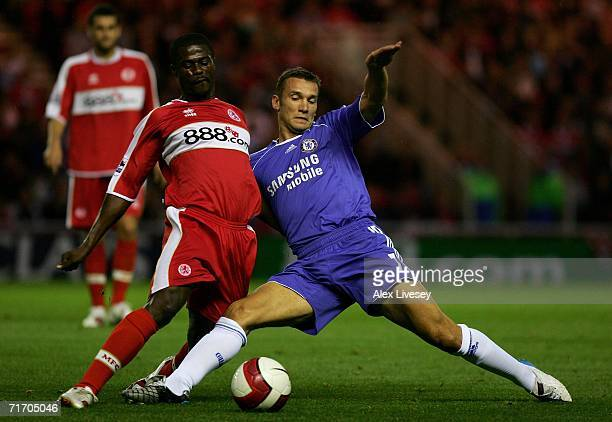 Andriy Shevchenko of Chelsea battles for the ball with George Boateng of Middlesbrough during the Barclays Premiership match between Middlesbrough...