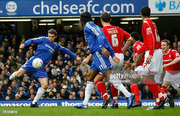 Andriy Shevchenko of Chelsea fires in a shot which deflects off of John Curtis of Nottingham Forest for an own goal during the FA Cup sponsored by...