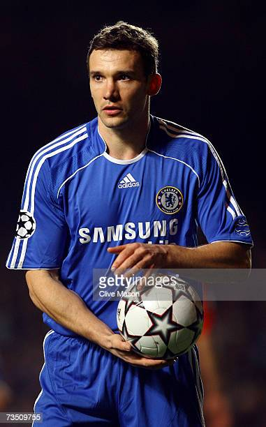 Andriy Shevchenko of Chelsea hold the ball during the UEFA Champions League round of sixteen second leg match between Chelsea and FC Porto at...