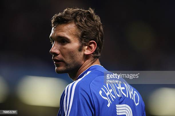 Andriy Shevchenko of Chelsea looks on during the UEFA Champions League Group B match between Chelsea and Rosenborg at Stamford Bridge on September 18...