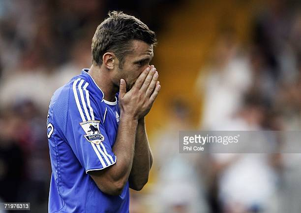 Andriy Shevchenko of Chelsea reacts after he misses a goal during the Barclays Premiership match between Fulham and Chelsea at Craven Cottage on...
