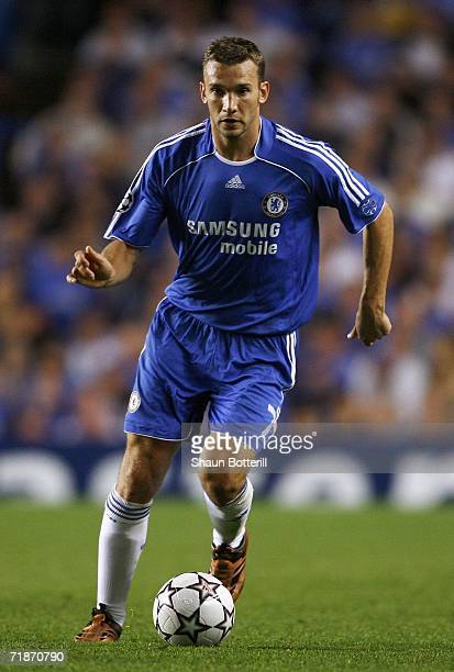 Andriy Shevchenko of Chelsea runs with the ball during the UEFA Champions League Group A match between Chelsea and Werder Bremen at Stamford Bridge...