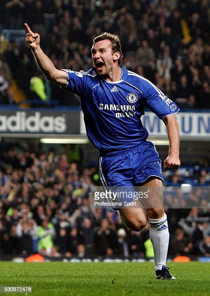 Andriy Shevchenko of Chelsea scores the equalising goal and celebrates during the Chelsea v Leicester City Carling Cup 4th Round match at Stamford...