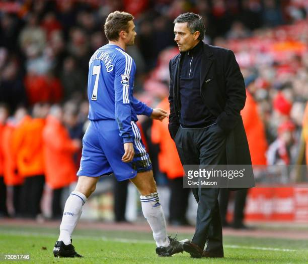 Andriy Shevchenko of Chelsea walks off the pitch past Chelsea Manager Jose Mourinho at the end of the Barclays Premiership match between Liverpool...
