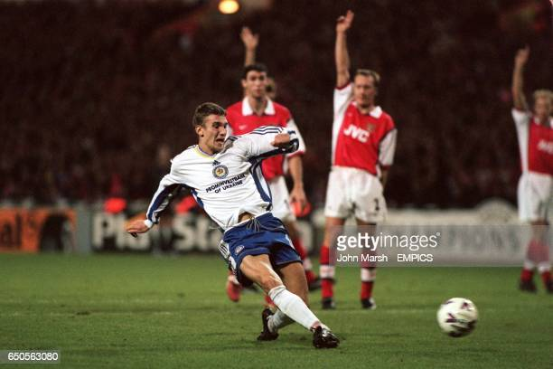 Andriy Shevchenko of Dynamo Kiev scores the equalising goal which was disallowed for offside