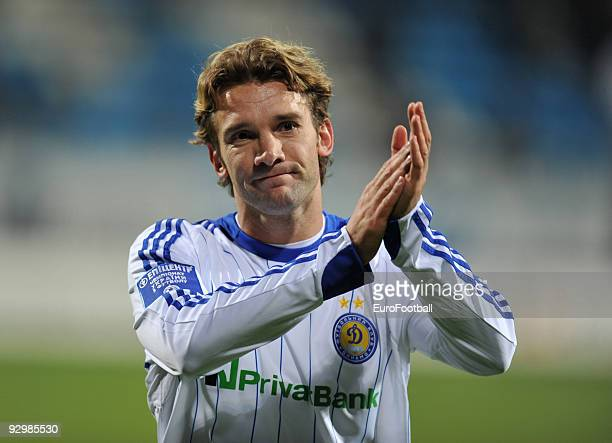 Andriy Shevchenko of FC Dynamo Kiev applauds the fans after the Ukrainian League match between FC Dynamo Kiev and FC Obolon held on October 17 2009...