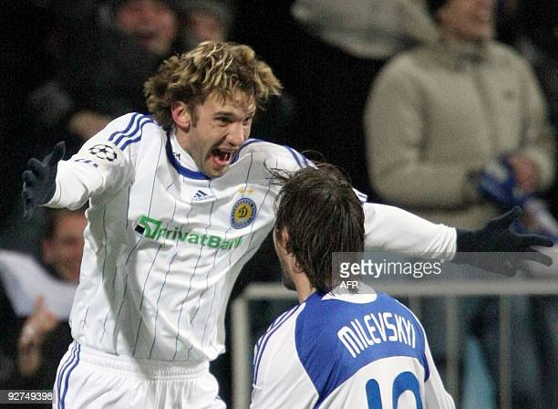 Andriy Shevchenko of FC Dynamo Kiev reacts after scoring against FC Intern Milan during UEFA Champions League Group F football match in Kiev on...