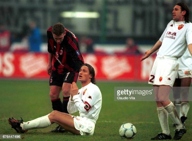 Andriy Shevchenko of Milan and Francesco Totti of Roma chat during a SERIE A 15th Round League match between Milan and Roma played at the San Siro...