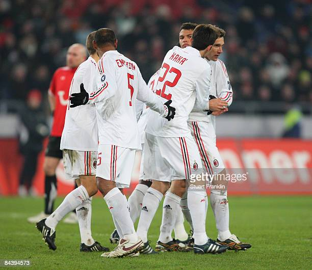 Andriy Shevchenko of Milan celebrates his goal with Kaka during a friendly match between Hannover 96 and AC Milan at the AWD Arena on January 21 2009...