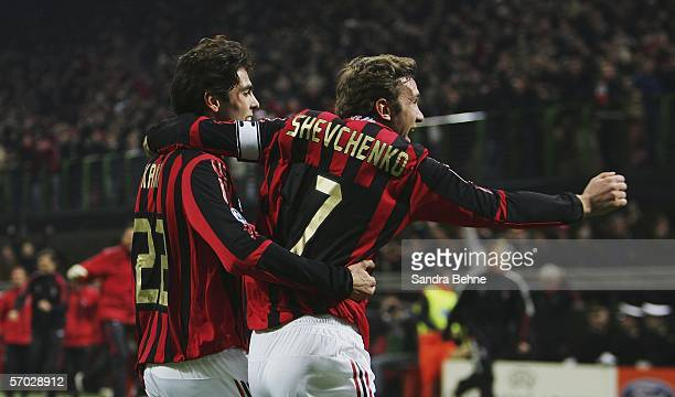 Andriy Shevchenko of Milan celebrates with his team mate Kaka after scoring the second goal during the UEFA Champions League Round of 16 second leg...