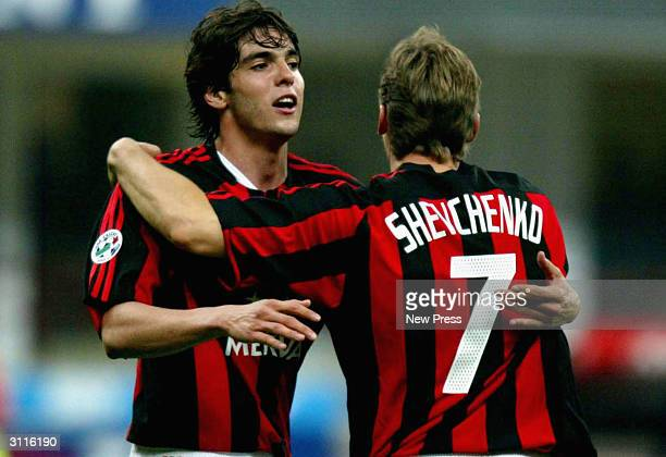 Andriy Shevchenko of Milan congratulates teammate Ricardo Kaka during the Serie A match between AC Milan and Parma held at Guiseppe Meazza San Siro...