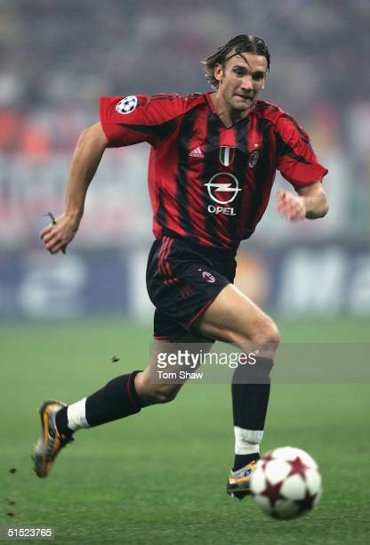 Andriy Shevchenko of Milan in action during the UEFA Champions League Group F match between AC Milan and Barcelona in the Stadio San Siro on October...