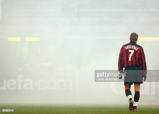 Andriy Shevchenko of Milan walks trough the smoke during the UEFA Champions League Second Leg match between AC Milan and Sparta Prague at The San...