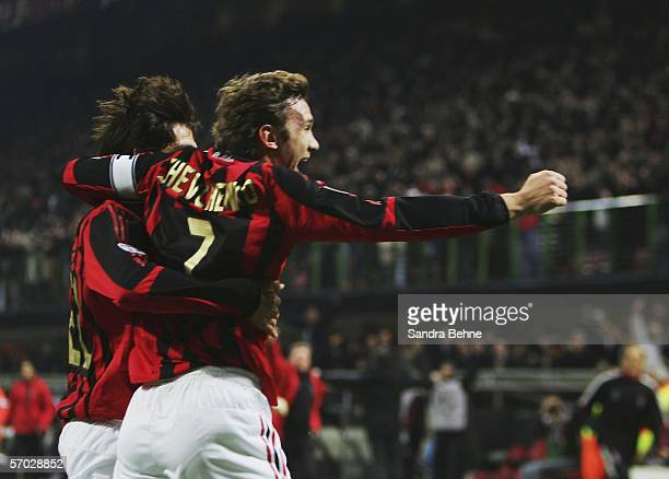 Andriy Shevchenko of Milancelebrates with his team mate Kaka after scoring the second goal during the UEFA Champions League Round of 16 second leg...