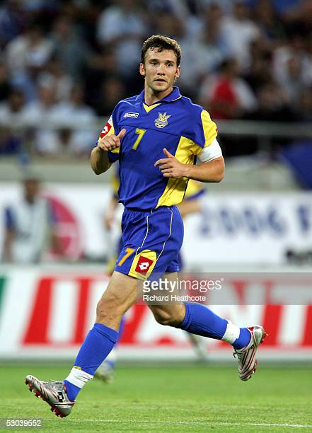 Andriy Shevchenko of the Ukraine in action during the FIFA World Cup 2006 group 2 qualification match between Greece and Ukraine held at the Georgios...