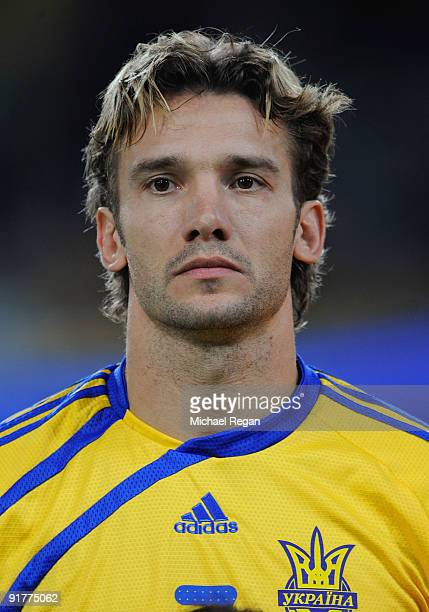 Andriy Shevchenko of the Ukraine lines up before the FIFA 2010 World Cup Group 6 Qualifying match between Ukraine and England at the Dnipro Arena on...