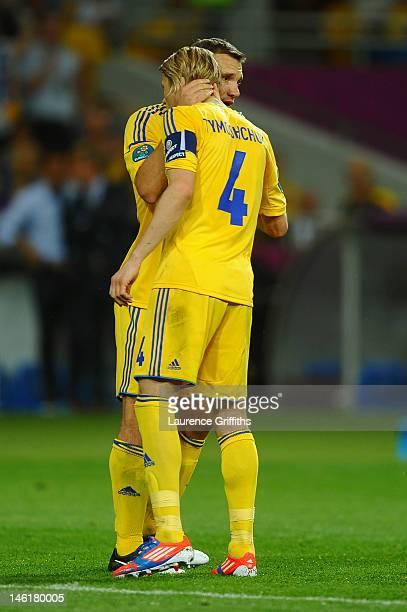 Andriy Shevchenko of Ukraine hugs Anatoliy Tymoshchuk of Ukraine during the UEFA EURO 2012 group D match between Ukraine and Sweden at The Olympic...