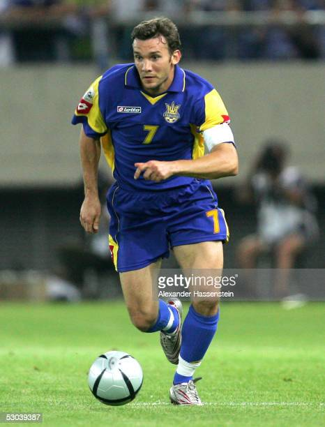 Andriy Shevchenko of Ukraine in action during the FIFA World Cup 2006 Qualifier between Greece and Ukraine on June 8 2005 in Athens Greece