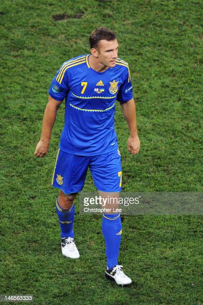 Andriy Shevchenko of Ukraine leaves the field during the UEFA EURO 2012 group D match between England and Ukraine at Donbass Arena on June 19 2012 in...