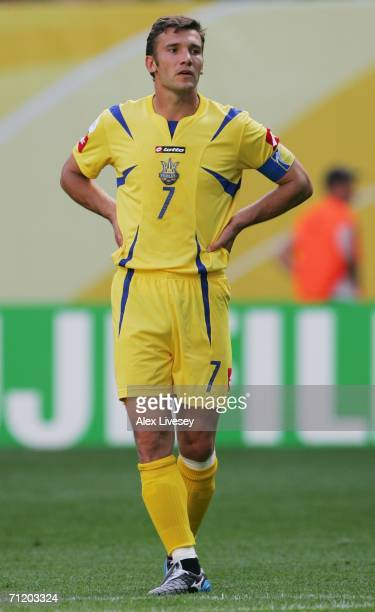 Andriy Shevchenko of Ukraine looks on during the FIFA World Cup Germany 2006 Group H match between Spain and Ukraine played at the Zentralstadion on...