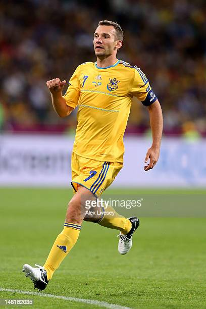 Andriy Shevchenko of Ukraine looks on during the UEFA EURO 2012 group D match between Ukraine and Sweden at The Olympic Stadium on June 11 2012 in...