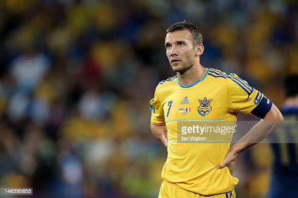 Andriy Shevchenko of Ukraine looks on during the UEFA EURO 2012 group D match between Ukraine and France at Donbass Arena on June 15 2012 in Donetsk...