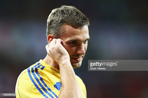 Andriy Shevchenko of Ukraine looks on during the UEFA EURO 2012 group D match between England and Ukraine at Donbass Arena on June 19 2012 in Donetsk...